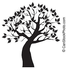 tree silhouette - vector tree with black leaves