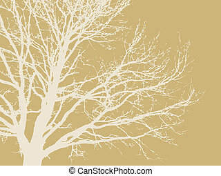 tree silhouette on brown background, vector illustration