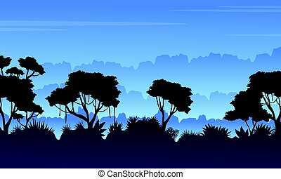 Tree silhouette on the jungle scenery