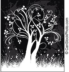 Tree silhouette vector illustration.