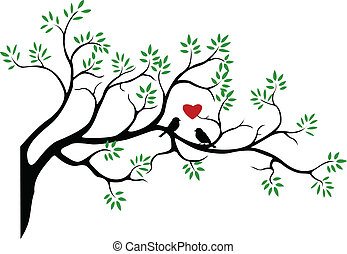 Tree silhouette with bird - vector illustration of...