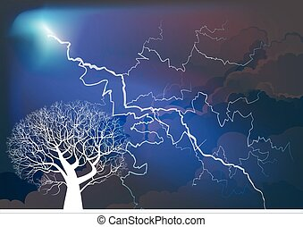 Tree silhouetted by thunderstorm - Dramatic thunderstorm ...