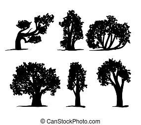 Tree silhouettes set