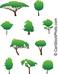 Set of green tree silhouettes for ecology design