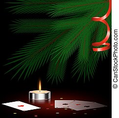 tree, small candle and cards - Christmas ree, small burning...