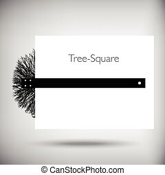 Tree square whimsical illustration