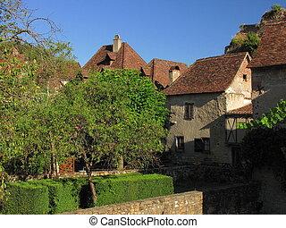tree, street, village