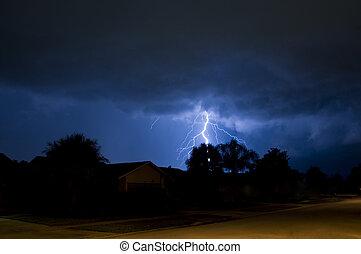 Tree strike - Lightning strike behind a tree in a local...