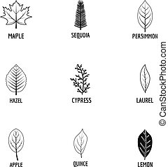 Tree structure icons set, simple style