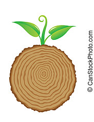 Tree stump and green plant shoot, vector illustration