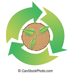 Tree stump and green plant shoot with recycle symbol, vector
