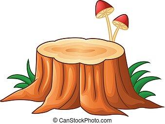 Tree stump and mushroom