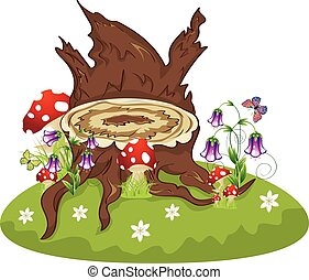 Tree Stump and Mushrooms