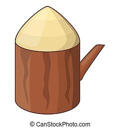 Tree stump icon, cartoon style