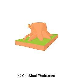 Tree stump icon in cartoon style