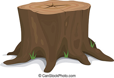 Tree Stump - Illustration of a cartoon big tree stump with...