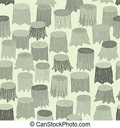 Tree Stump seamless pattern tapestry in grey is hand drawn ...