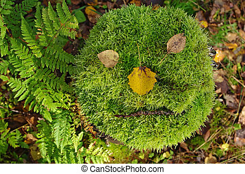 Tree stump with face of moss - Close up of cut tree with ...