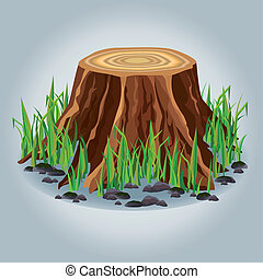 Tree stump with green grass isolated