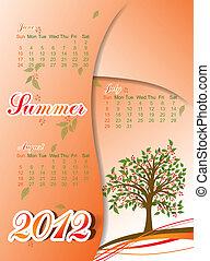 Tree summer calendar 2012, vector