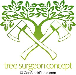 Tree Surgeon Axes and Tree Design - A crossed axes and tree...