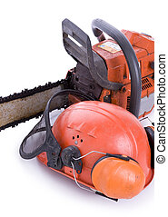 tree surgeon tools on white portrait
