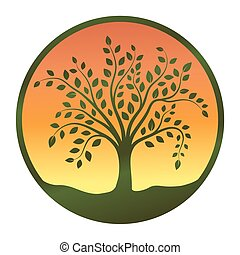 Tree symbol in circle on a white background, Vector illustration