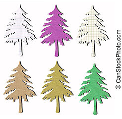 tree tag recycled paper craft stick on white background