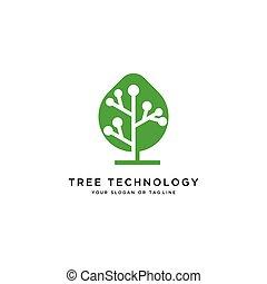 tree technology logo design vector