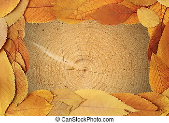 tree texture with golden leaves frame