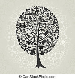 Tree the industry - Tree made of the industry. A vector ...