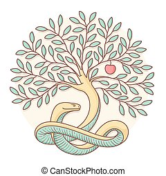 Tree the knowledge of good and evil with snake, apple. Colorful design. Vector Illustration.