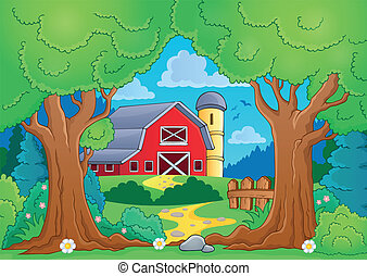 Tree theme with farm 4 - eps10 vector illustration.