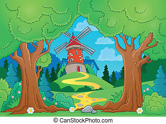 Tree theme with windmill 1 - eps10 vector illustration.