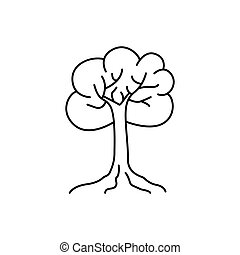Tree thin line art vector icon. Line style illustration