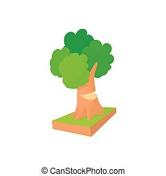 Tree to saw cut icon, cartoon style