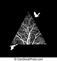 tree trimmed in a triangle