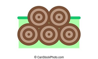 tree trunk pile Icon Animation. color tree trunk pile animated icon on white background