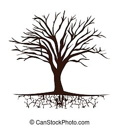 tree trunk with branchs without leaves vector illustration