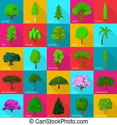 Tree types icons set, flat style