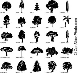 Tree types icons set, simple style