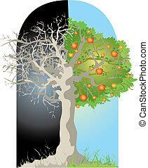 Tree - Vector illustration of dead-alive tree