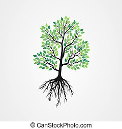 Tree vector illustration with roots and green leaves.