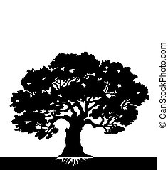 Tree. Vector - black Silhouette of a tree - vector...