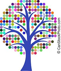 Tree vector with green colored bubbles around the branches isolated on a white background. Simple tree illustration for logo