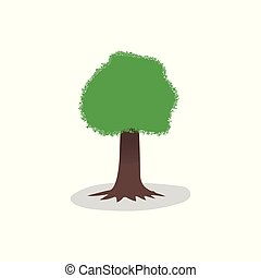 Tree vector with shadow isolated on light background. Design element for your projects.