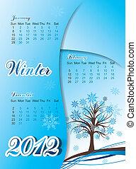 Tree winter calendar 2012, vector