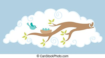 tree with a bird nest and bird in a cloud