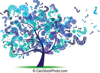 Tree with a question mark leaf - Vector image for various...