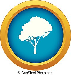 Tree with a rounded crown icon blue vector isolated